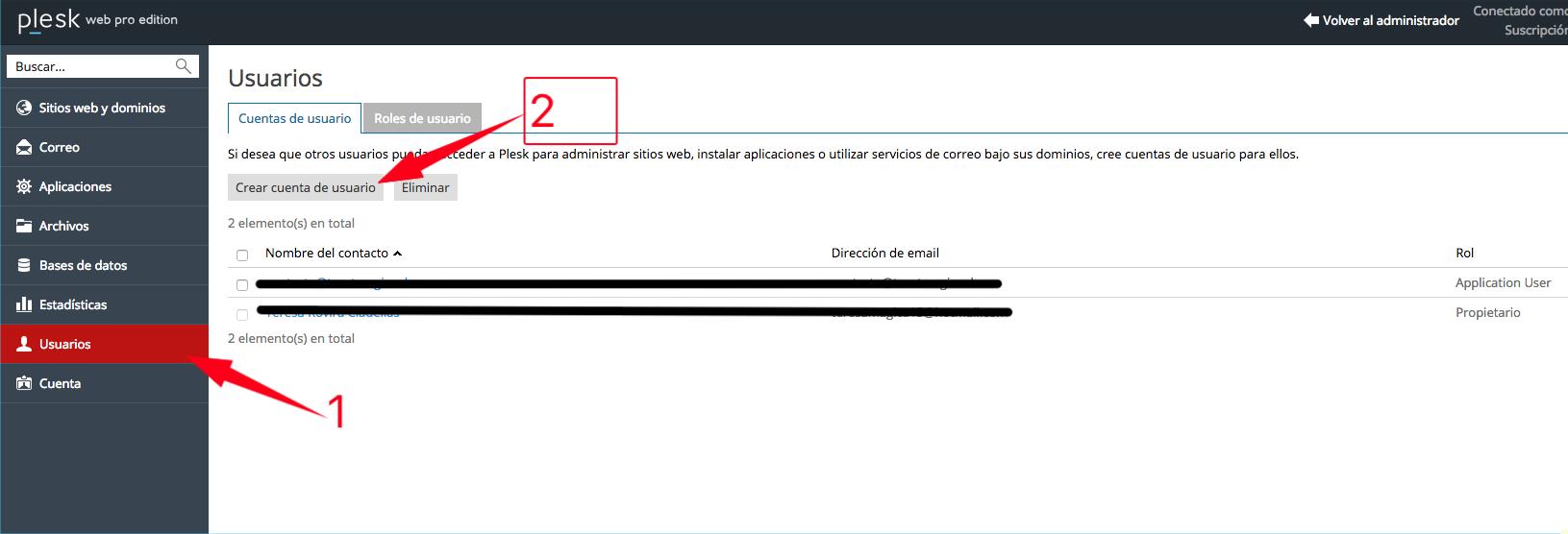 Crear cuenta de usuario en plesk 12.5